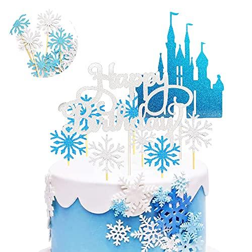 SUNSK Torta Toppers Fiocco di Neve Castello Glitter Cupcake Topper Festa Birthday Decorazione Argento Blu Buon Compleanno Cake Topper 42 pezzi