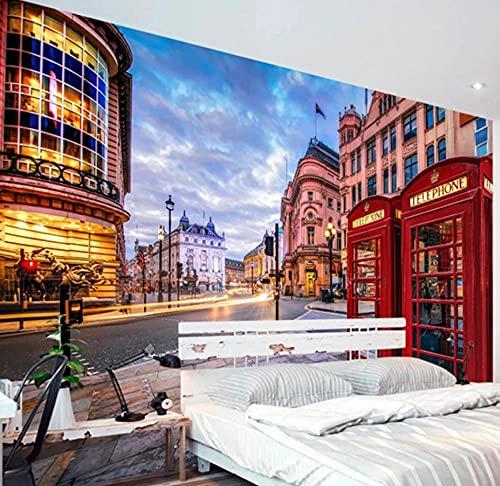 Papel tapiz mural 3D London Streets Cabina de teléfono roja Edificio de la ciudad Fresco Sala de estar Restaurante Café Papel tapiz-300 * 210cm