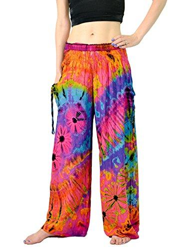Orient Trail Women's Bohemian Yoga Wide Leg Palazzo Tie Dye Pants Small Nebula Pink