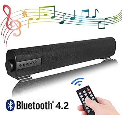 Portable Soundbar for TV/PC, Soundbar with Built-In Subwoofer Surround Sound 2.0 Channel Portable Bluetooth Computer Speaker Wired & Wireless Audio Stereo Sound Bars for TV PC Tablet Mobiles from QSPORTPEAK
