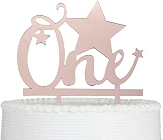 1st Birthday Rose Gold Cake Topper with Star First Birthday Decor One Year Anniversary Party Decorations for Baby Boy Girl Birthday (Rose Gold)