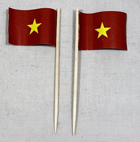 Buddel-Bini Party-Picker Flagge Vietnam Papierfähnchen in Profiqualität 50 Stück Beutel Offsetdruck Riesenauswahl aus eigener Herstellung