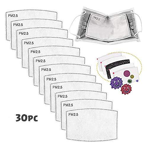 30 filtros de carbón activado PM2.5, 5 capas reemplazables de papel antivaho