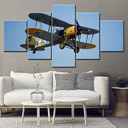Tackbz Canvas Vliegtuig Vliegen in de hemel 5 stuks kunst muur schilderij behang affiches decoratie huis 200 x 100 cm