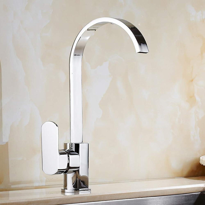 YHSGY Küchenarmatur Kupfer Küchenwasserhahn Waschbecken über Gegenbecken Heies Und Kaltes Wasser Wasserhahn Flachrohr Kann Gedreht Werden