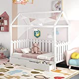 P PURLOVE Twin Size Wood Bed House Bed Frame with Fence-Shaped Guardrails for Kids Teens Girls Boys (Twin with Drawers, White)