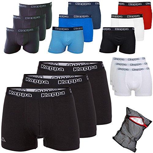 Kappa Herren Boxershorts ZiATEC Edition | Unterhose für Herren, S-5XL mit praktischem Wäschenetz, 3er, 6er und 9er Packs - Männer-Unterwäsche, Farbe:3 x schwarz/schwarz, Größe:XL