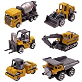 Kids Diecast Construction Vehicles Metal Engineering Cars Set Toys Play Trucks for Boys Age 2 3 4 Birthday Party Supplies Cake Topper (Pack of 6)