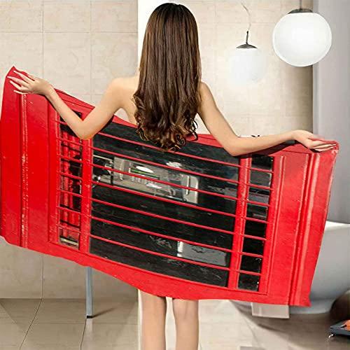 VJEJSE Toalla de Playa de Microfibra Toalla de baño 80x160 cm Toalla de Piscina Grande Cabina de teléfono roja por Yoga, Seque Rápidamente, Absorbente, Prevención de...