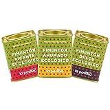 LA PASTORA | Producto Gourmet | Pack/ 3 Latas de Pimentón Ecológico | Dulce + Picante + Ahumado | 75 gr./ud. | 100% Natural | Pimentón en Polvo | Antioxidante | Apto Para Celíacos | Pimentón Español