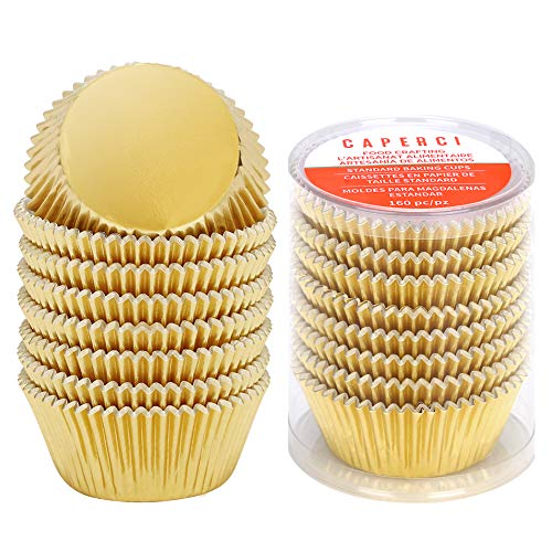 Caperci Standard Cupcake Liners Gold Foil Muffin Baking Cups 160-Pack - Premium Greaseproof & Sturdy Cupcake Papers