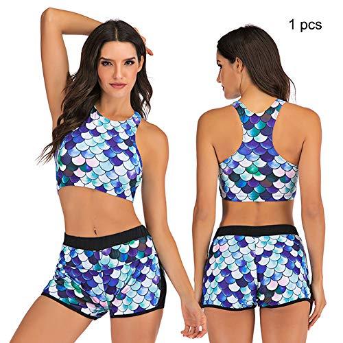 Sportbadpak bedrukte sexy bikini, push-up dames split badmode, push-up zomer strand boxershorts zwemset,2,XXL