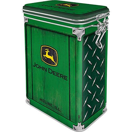Nostalgic-Art Retro Kaffeedose - John Deere - Diamond Plate Green, Blech-Dose mit Aromadeckel, Vintage Geschenk-Idee für Traktor-Fans, 1,3 l