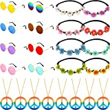 24 Pieces Hippie Costume Accessory Set Includes Peace Sign Necklaces Daisy Sunflower Headbands Retro Round Sunglasses for Hippie Party Supplies