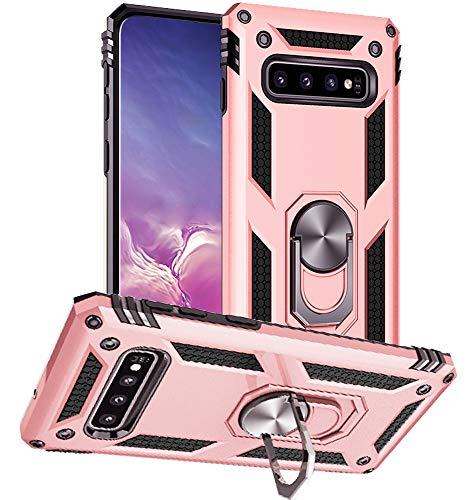 Yiakeng Cover Samsung Galaxy S10, Samsung S10 Cover, Custodia Slim Silicone Armour Bumper Antiurto Telefono Case con Kickstand per Samsung Galaxy S10 (Oro Rosa)