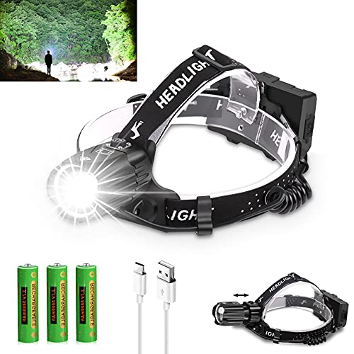 Upgraded Version Rechargeable Headlamp, 10000 Lumens USB HeadLamp for Adults, Super Bright LED Headlight with 3 Batteries Included, 3 Modes, Zoomable, Waterproof, Tactical Headlamp for Hiking Camping