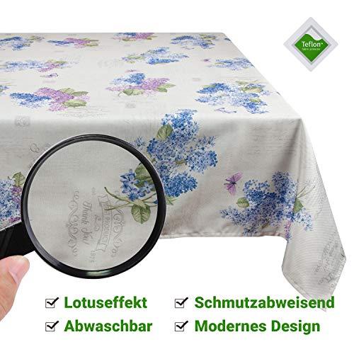 Valia Home Tischdecke Tischtuch Tafeldecke schmutzabweisend wasserabweisend Lotuseffekt pflegeleicht eckig in verschiedenen Größen und Designs (Flieder, 140 x 200 cm)