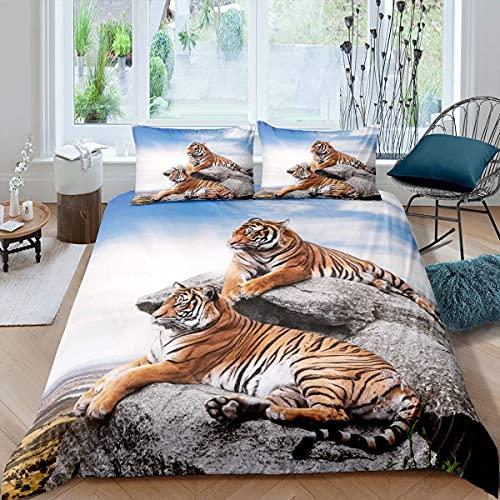 Juego de cama de tigre con funda de edredón de doble tigre, para niños, niñas, safari, animales salvajes, con 1 funda de almohada, tamaño individual, azul, marrón, gris