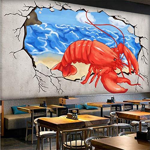 Aangepaste 3D behang met de hand beschilderde kreeft gebroken muur in de hete pot winkel achtergrond muur muurschilderingen decoratie 430×300cm