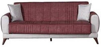 Danube Home Vanessa 3 Seater Fabric Sofa - Rust/Beige