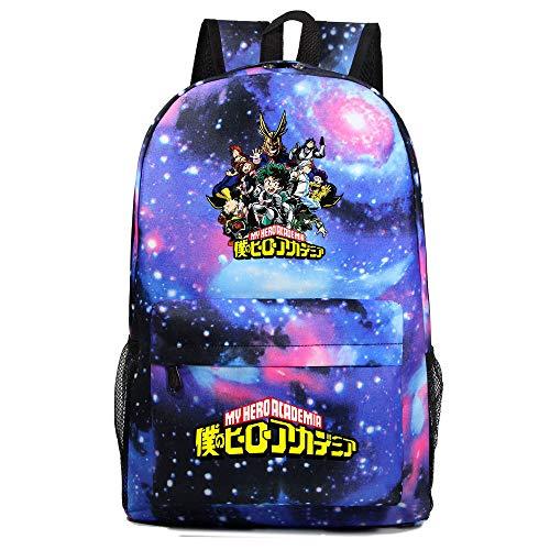 Qwhone Anime My Hero Academia Escuela Mochilas Escolar Talega de Libros Colegio Ordenador portátil Hero Academia Mochila Casual Viajes Daypack para Adolescente Chicas y Mujeres,Galaxy 3