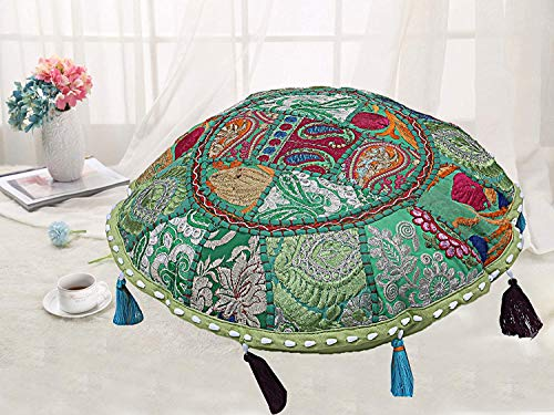 Large Floor Cushion Patchwork Floor Cushions Indian Round Pillow Case Bohemian Ottoman Pouf Cover Vintage Meditation Floor Pillows Sitting (16 x 16)