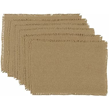 VHC Brands Classic Country Farmhouse Tabletop & Kitchen - Burlap Natural Tan Fringed Placemat Set of 6