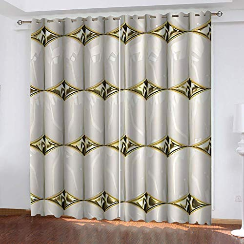 UDKHJH 3D Blackout Curtains - White Gold Geometry Pattern - Polyester Thermal Insulated Curtain,Energy Saving Reduce Noise Treatment For Bedroom Living Room Children'S Room 220X215Cm