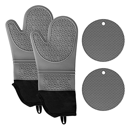 Silicone Non-Slip Oven Mitts and Pot Holders 4pcs Sets, Extra Long Flexible Oven Gloves Oven Mittens Heat Resistant, Kitchen Counter Safe Trivet Mats - Grey