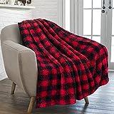 PAVILIA Buffalo Plaid Black Red Sherpa Throw Blanket for Couch Sofa | Fluffy Shaggy Fleece Blanket | Plush, Soft, Fuzzy, Cozy, Warm Microfiber Throw Checkered Blanket, 50x60