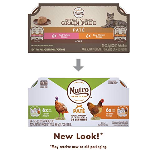 Nutro Perfect Portions Grain Free Natural Adult Wet Cat Food Paté Real Turkey &...