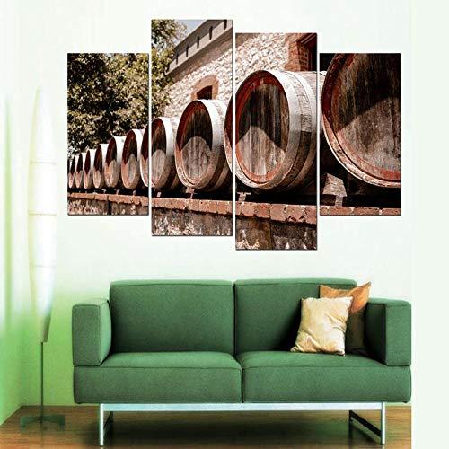 IOIP Cuadro En Lienzo 4 Piezas Impresiones sobre Lienzo Fila de barriles de Vino ImpresióN HD Pintura 4 Piezas Modernos Salón Decoracion Murales Pared Lona XXL Hogar Dormitorios Decor