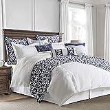 HiEnd Accents Kavali Coastal Linen Comforter Set, Super King, Navy Blue & White Jacquard 4 PC
