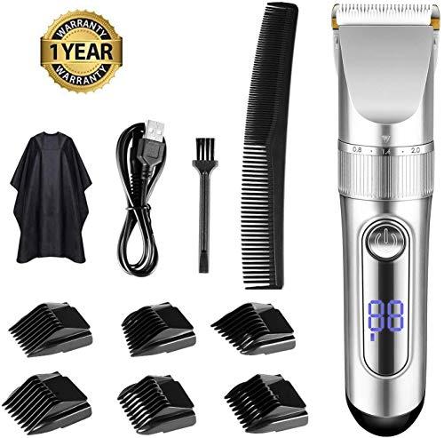 Tondeuse Cheveux Homme, TOPQSC Affichage LED rechargeable sans fil avec 6 peignes de guidage Moteur Pro Puissant Kit coupe-cheveux et barbe étanche pour homme