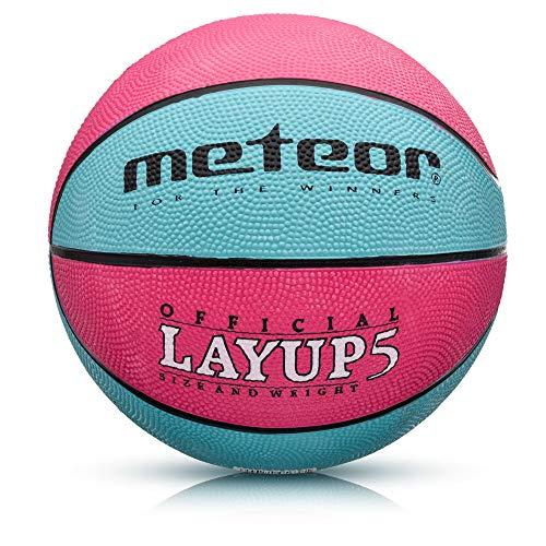 meteor® Layup Kinder Mini Basketball Größe #5 ideal auf die Jugend Kinderhände von 4-8 Jährigen abgestimmt idealer Basketball für Ausbildung weicher Basketball (Größe 5 (Kinder), Rosa & Blau)