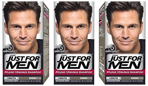3x JUST FOR MEN Pflege-Tönungs-Shampoo schwarz (je 66ml)