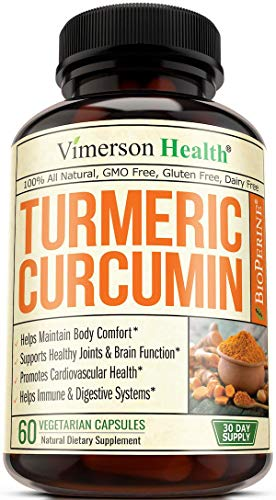 Turmeric Curcumin with Bioperine, Anti-Oxidant Properties, Supports Healthy Inflammatory Response, Occasional Joint Pain Relief, 10mg of Black Pepper for Best Absorption. Enhanced Natural 60 Capsules