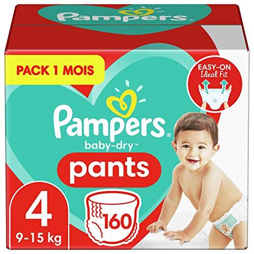 Pampers Baby-Dry pantalones, Talla 4((9-15 kg/8-14 kg), 1 pack de 160, Easy-On para hasta 12 horas de secado transpirable, paquete mensual - El empaque puede variar