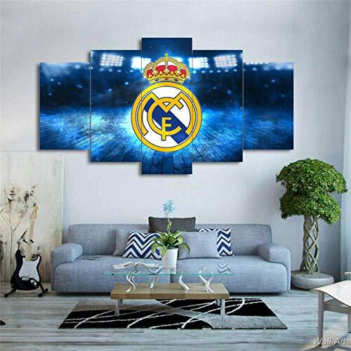 Murosn 5 Piezas Imagen Hogar Oficina Creativo Grande Formato Cuadros En Lienzo Moderno Pintura Decorativa Regalo Real Madrid 150x80cm-Marco