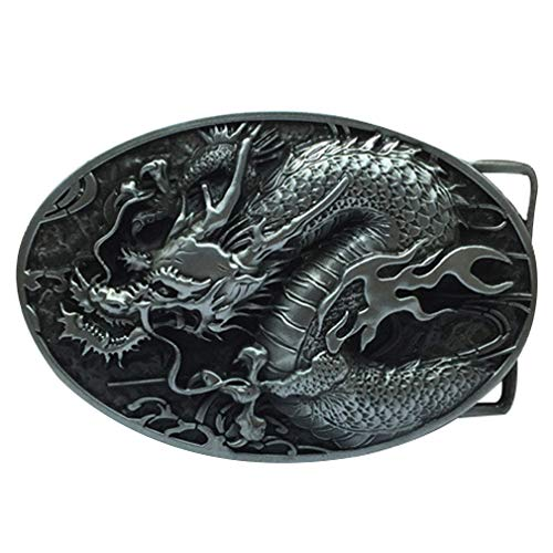 LKMY Chinese Dragon Head 3D Belt Buckle,Mythical Themed Authentic Dragon Designs (A silver)