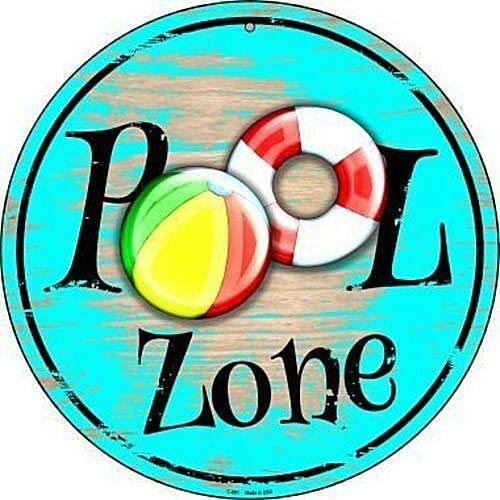 12'' x 12'' Round Sign Pool Zone Metal Tin Sign Novetly Funny Home Decor