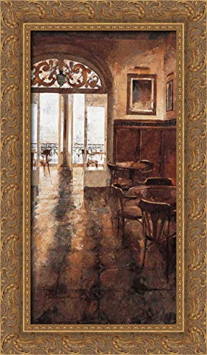 Martin, Noemi 14x24 Gold Ornate Framed Canvas Art Print Titled: Grand Cafe Cappuccino II
