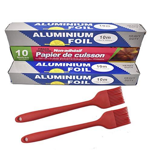 Zliger 3x 18 Micron Carta Stagnola Alta QualitÀ Carta Alluminio Resistente & 1x Carta Pergamena & 2x Pennello Da Forno per Catering