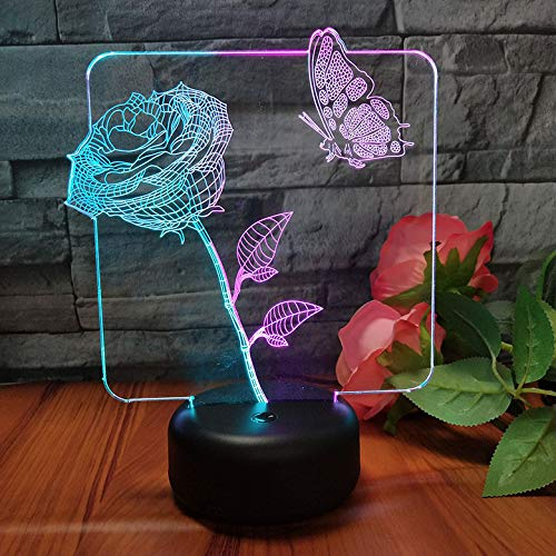 Veilleuses 3D Visuel 7 Couleur 2 Couleur Créatif Papillon Chambre Rose Led Tactile Interrupteur Cadeau De Noël Éclairage Lampe De Table Décorative