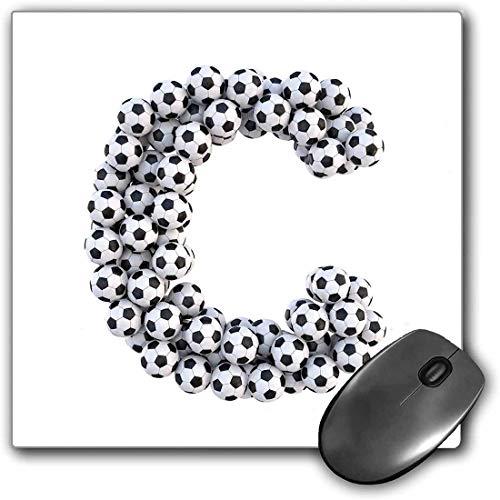 Mauspad-Spielfunktion Buchstabe C Dicke wasserdichte Desktop-Mausmatte Alphabet-Zeichen-Entwurfs-dritter Buchstabe-Fußball-Fußball-themenorientiertes grafisches Muster,Schwarzweiss,Rutschfeste Gummib
