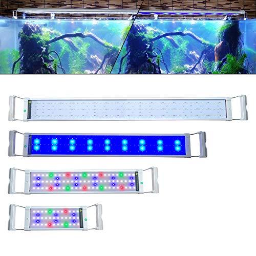 NAIZY Aquarium LED Beleuchtung,6W Dimmbar LED Licht Aquariumbeleuchtung mit Verstellbarer Halterung | Blau und RGB Farbwechsel Licht für 30-50cm Aquarium [Energieklasse A++]