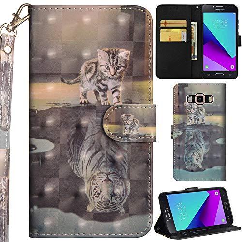 Ooboom Samsung Galaxy Grand Prime Hülle 3D Flip PU Leder Schutzhülle Handy Tasche Hülle Cover Ständer mit Trageschlaufe Magnetverschluss für Samsung Galaxy Grand Prime - Katze Tiger