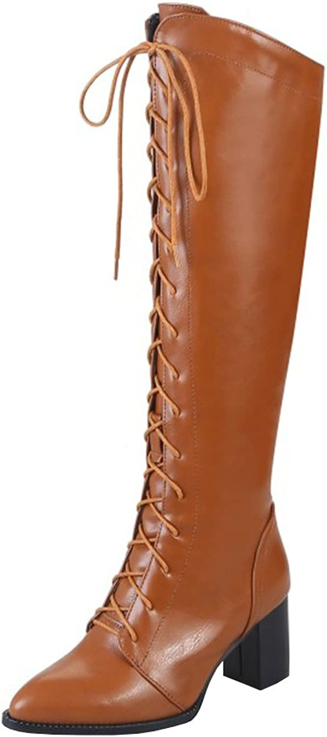 Agodor Womens Knee High Lace Up Mid Chunky Heel Thigh High Boots with Zip Pointed Toe shoes