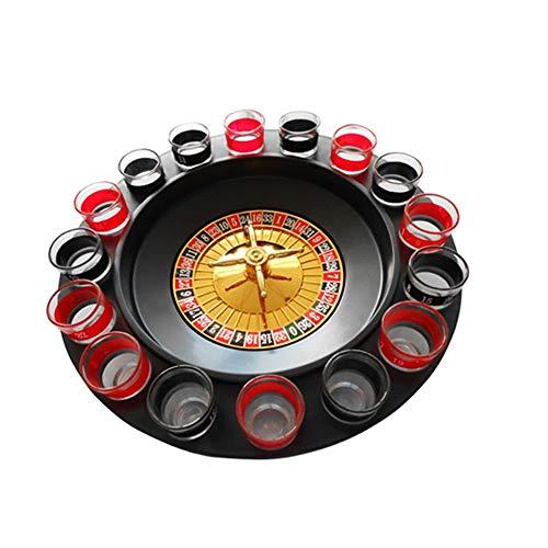 Juego de plato giratorio para beber de vidrio,ruleta rusa de 16 orificios plato giratorio juego de copa de vino ruleta de vaso de tiro y giro juego de beber estilo casino para uso en fiestas de KTV