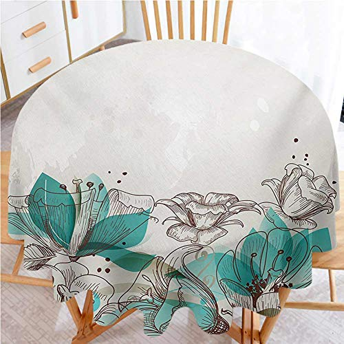 Philip C. Williams Turquoise Fabric Tablecloth Retro Floral Background with Hibiscus Silhouettes Dramatic Romantic Nature Art Waterproof Round Tablecloth Beige Teal Diameter 36'